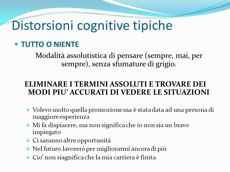 Distorsioni cognitive tipiche