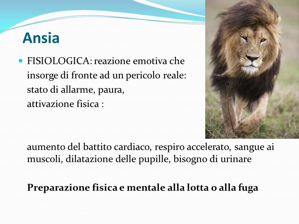 Ansia FISIOLOGICA: reazione emotiva che