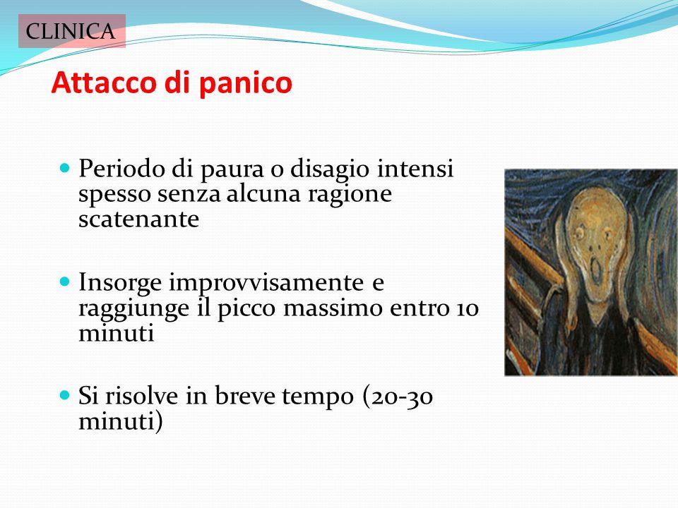 CLINICA Attacco di panico. Periodo di paura o disagio intensi spesso senza alcuna ragione scatenante.