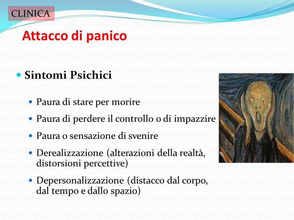 Attacco di panico Sintomi Psichici CLINICA Paura di stare per morire
