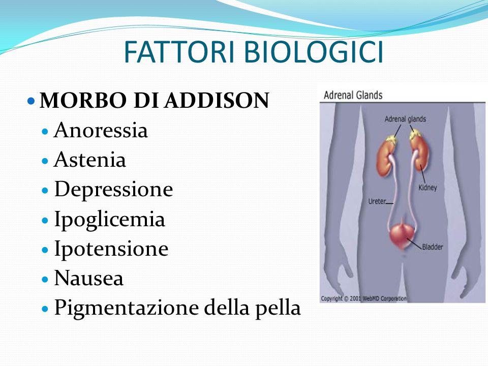 FATTORI BIOLOGICI MORBO DI ADDISON Anoressia Astenia Depressione