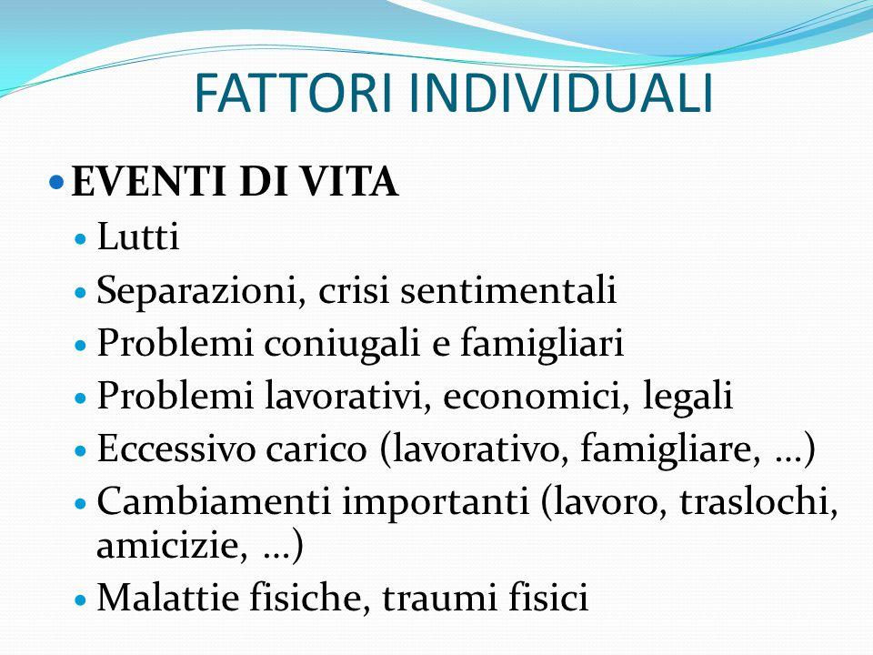 FATTORI INDIVIDUALI EVENTI DI VITA Lutti