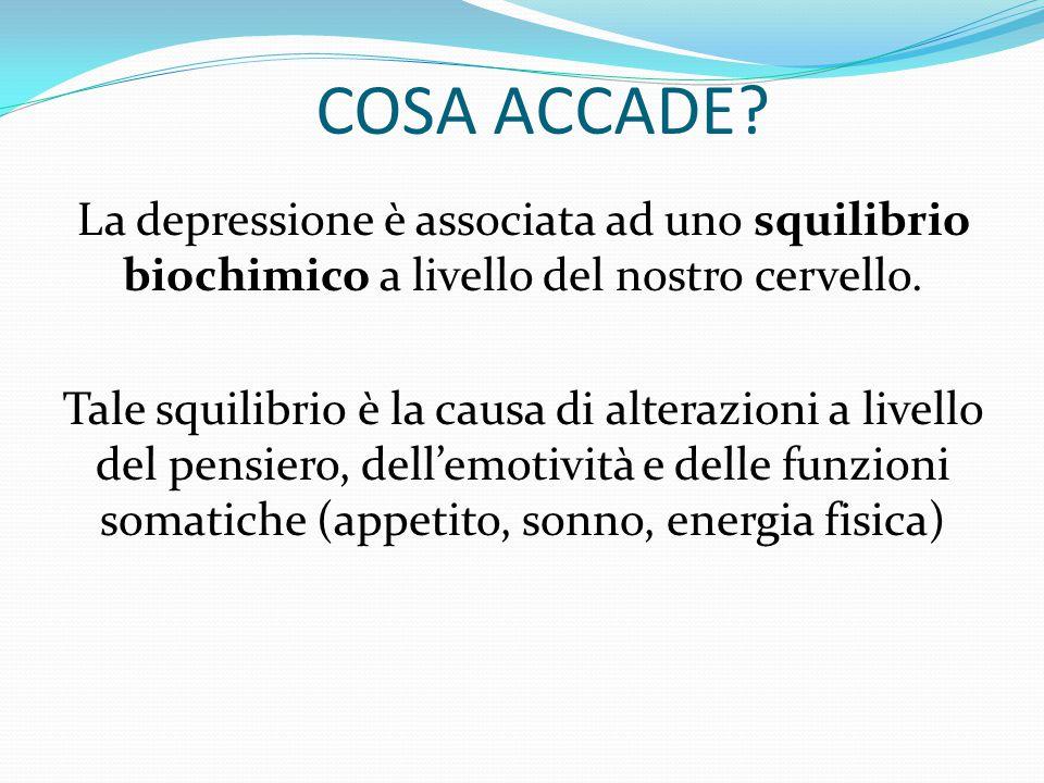 COSA ACCADE La depressione è associata ad uno squilibrio biochimico a livello del nostro cervello.