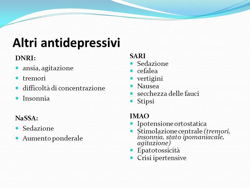 Altri antidepressivi DNRI: ansia, agitazione tremori