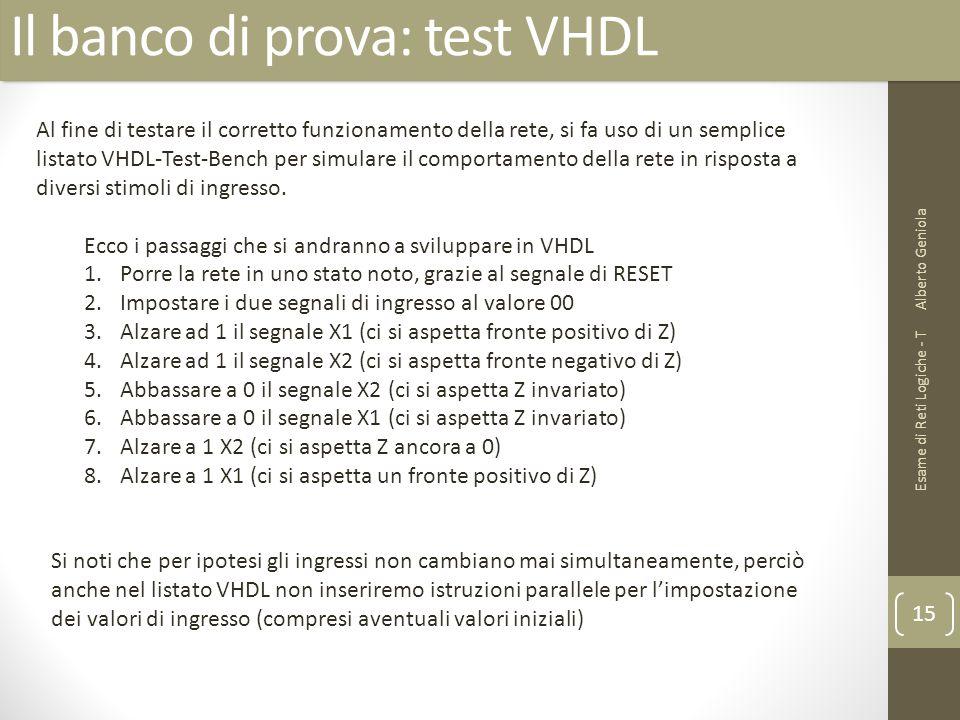 Il banco di prova: test VHDL