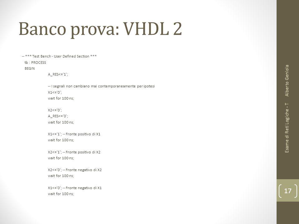 Banco prova: VHDL 2 Alberto Geniola Esame di Reti Logiche - T