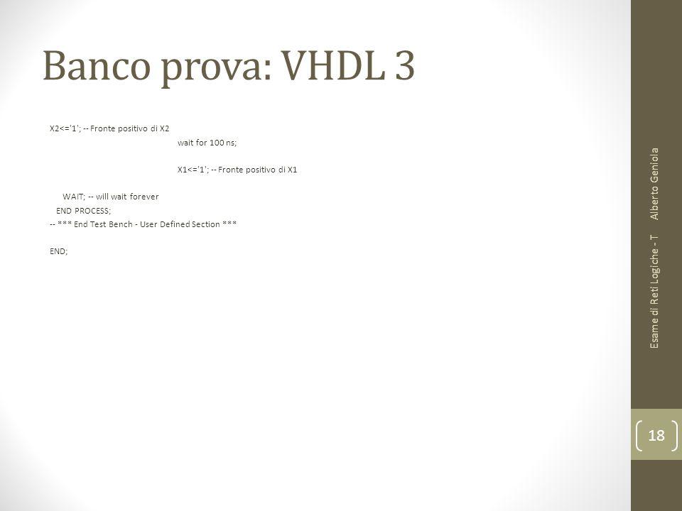 Banco prova: VHDL 3 Alberto Geniola Esame di Reti Logiche - T
