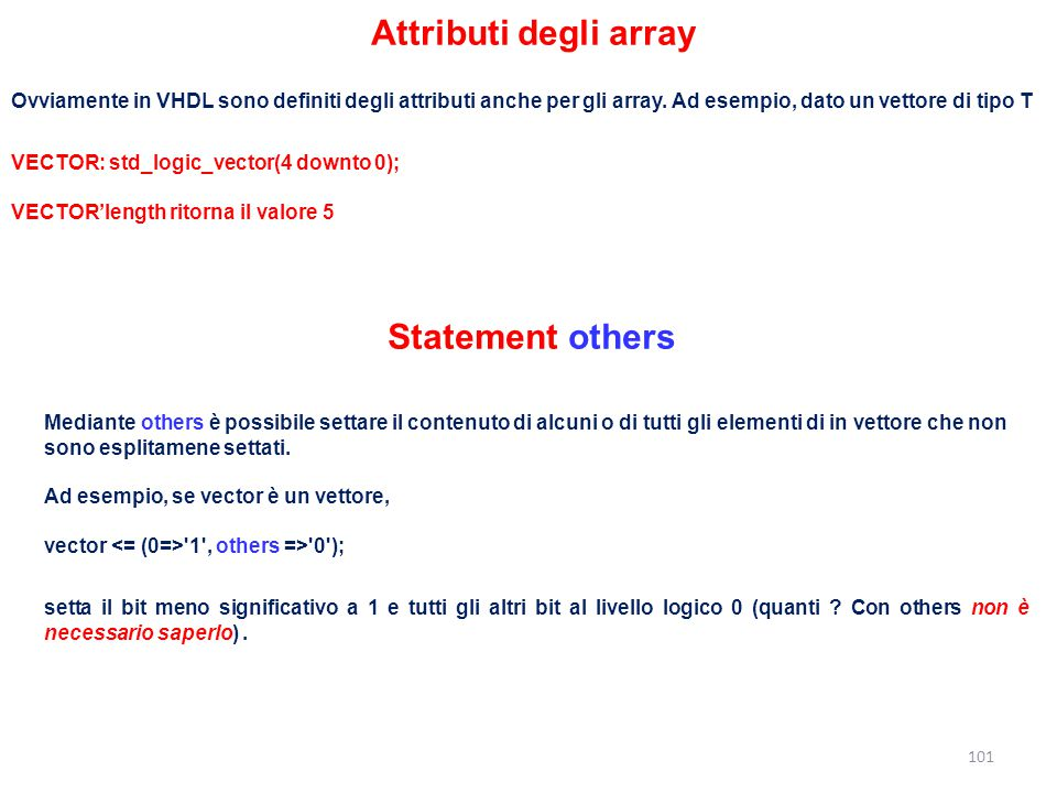 Attributi degli array Statement others