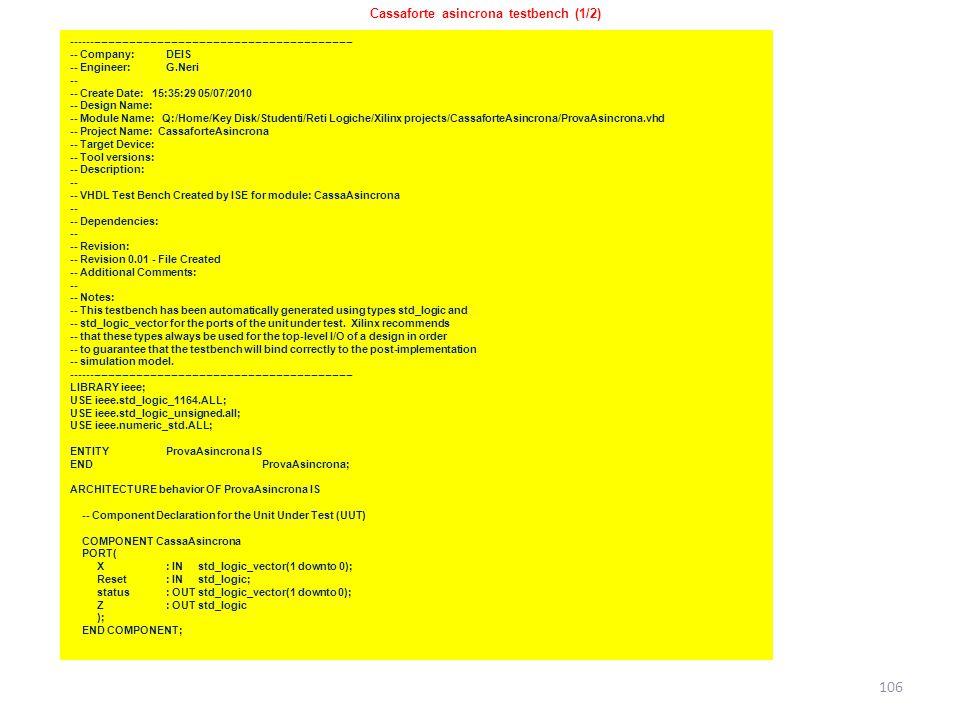 Cassaforte asincrona testbench (1/2)