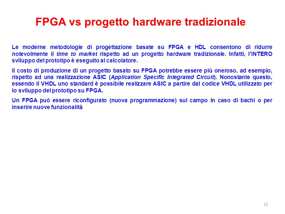 FPGA vs progetto hardware tradizionale