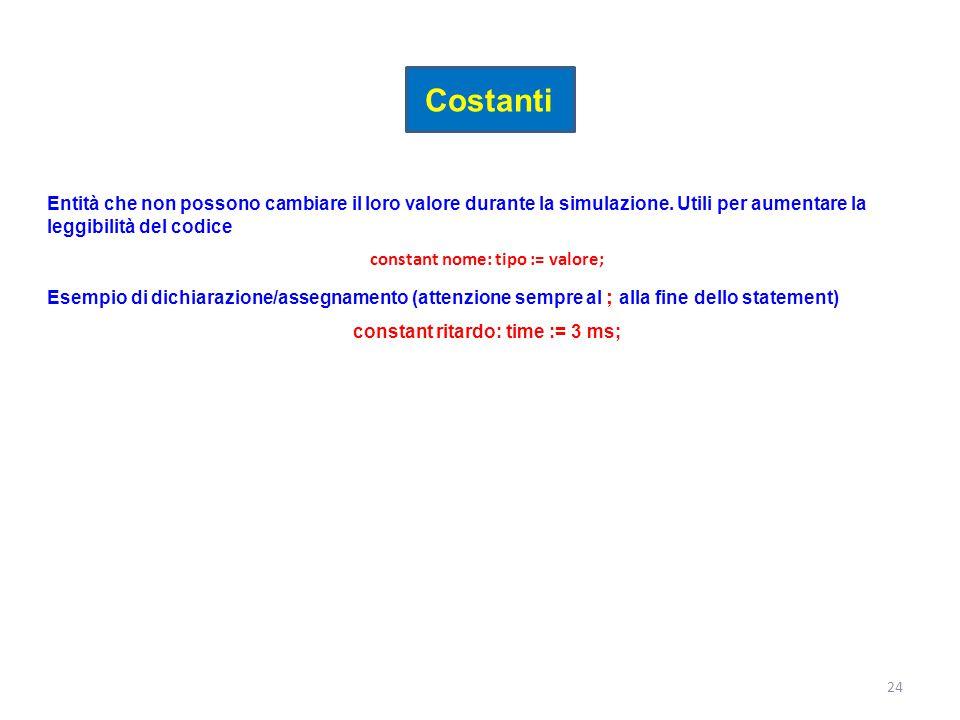 constant nome: tipo := valore; constant ritardo: time := 3 ms;