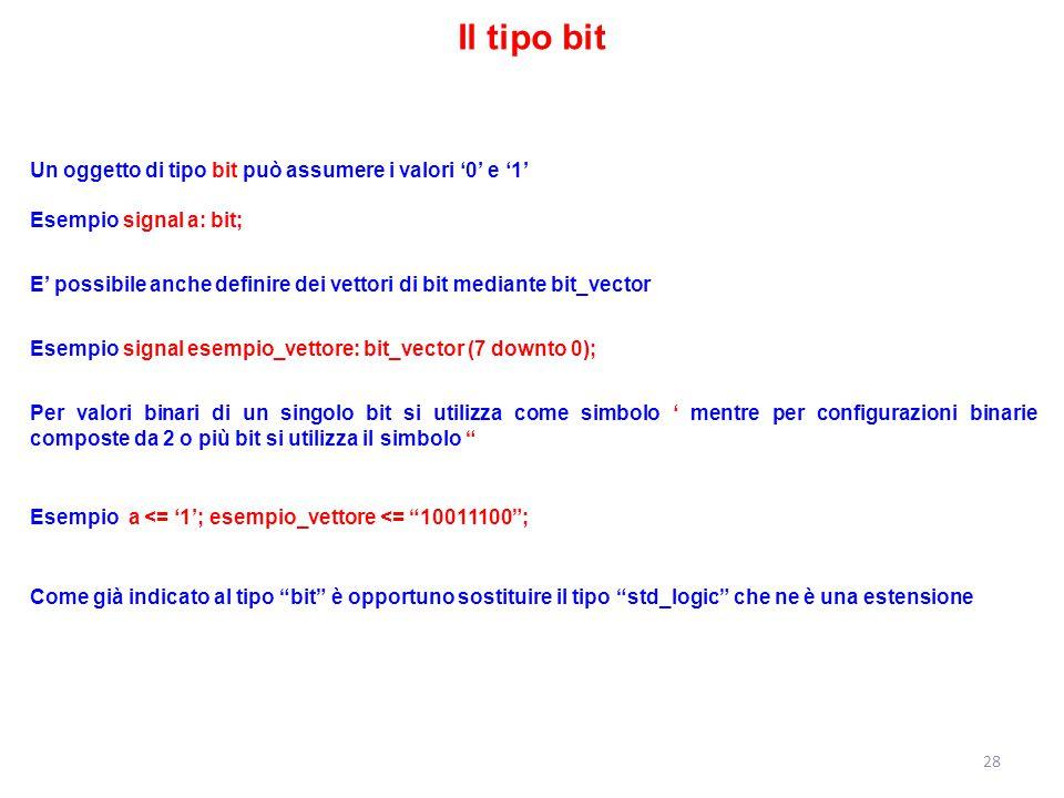 Il tipo bit Un oggetto di tipo bit può assumere i valori '0' e '1' Esempio signal a: bit;