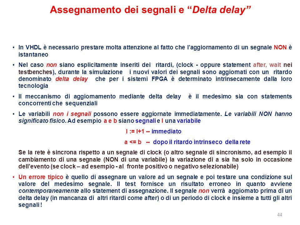 Assegnamento dei segnali e Delta delay