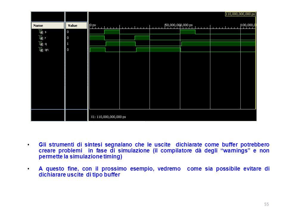 Gli strumenti di sintesi segnalano che le uscite dichiarate come buffer potrebbero creare problemi in fase di simulazione (il compilatore dà degli warnings e non permette la simulazione timing)