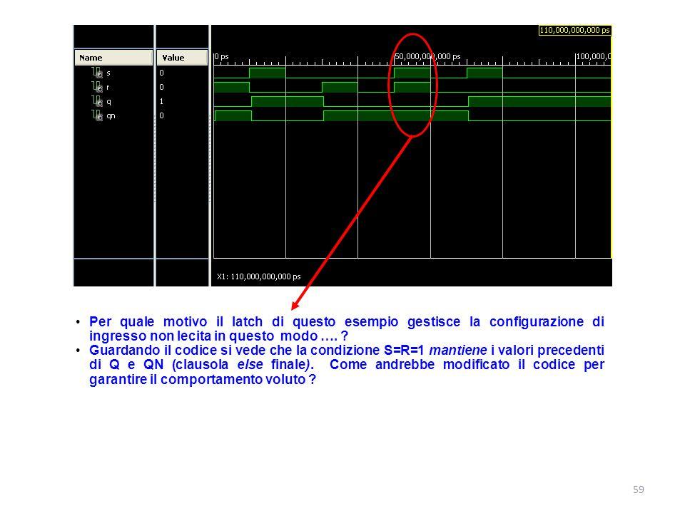 Per quale motivo il latch di questo esempio gestisce la configurazione di ingresso non lecita in questo modo ….