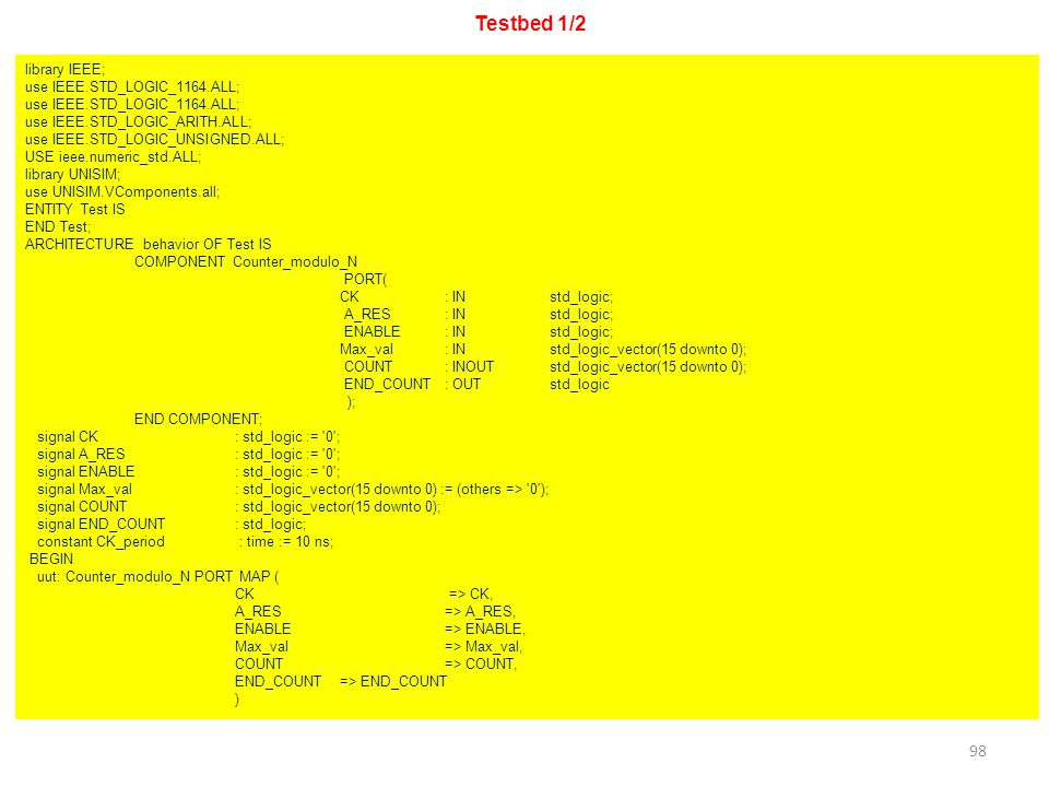 Testbed 1/2 library IEEE; use IEEE.STD_LOGIC_1164.ALL;