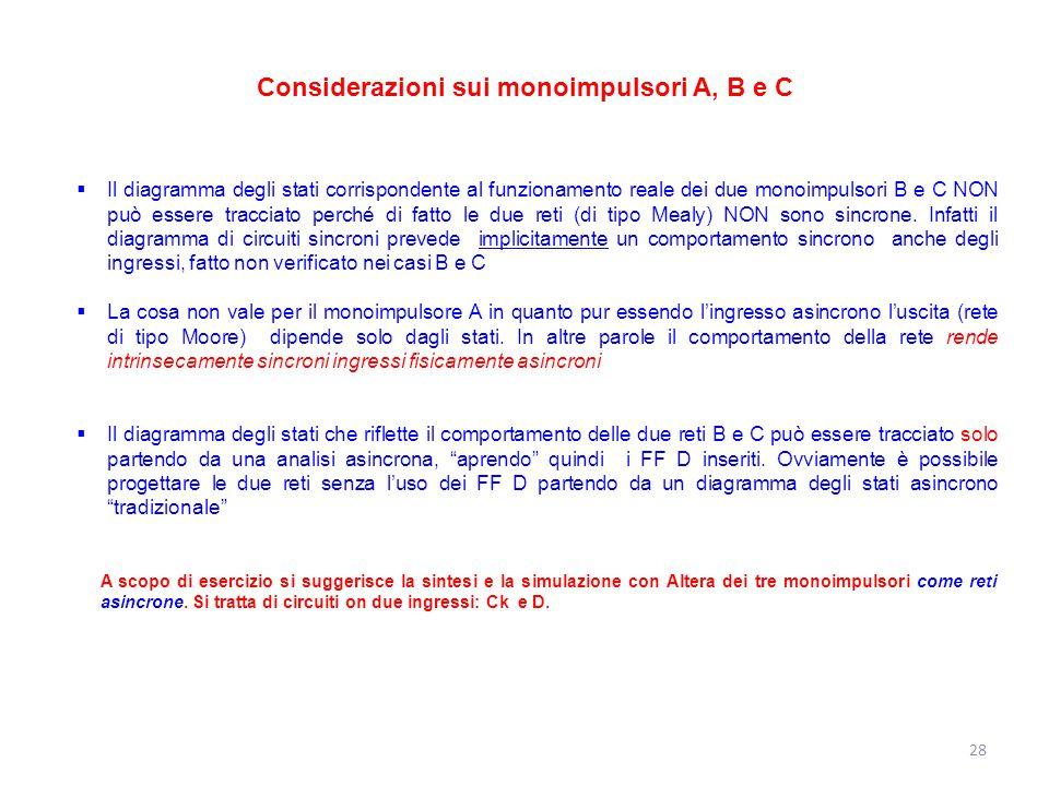 Considerazioni sui monoimpulsori A, B e C