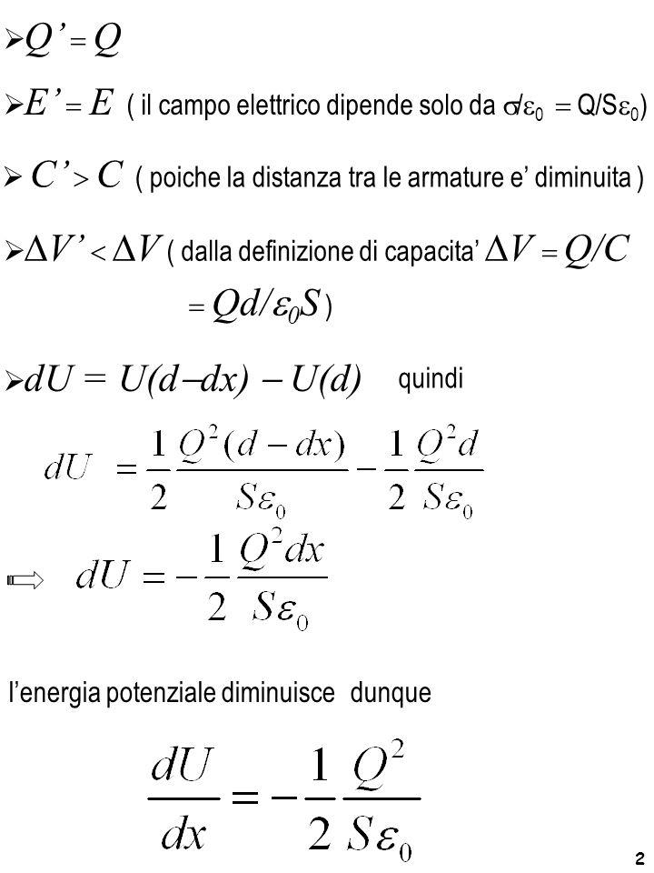 Q' = Q E' = E ( il campo elettrico dipende solo da s/e0 = Q/Se0) C' > C ( poiche la distanza tra le armature e' diminuita )