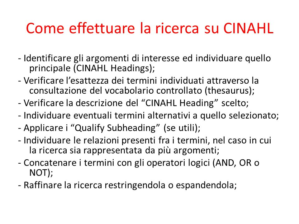 Come effettuare la ricerca su CINAHL