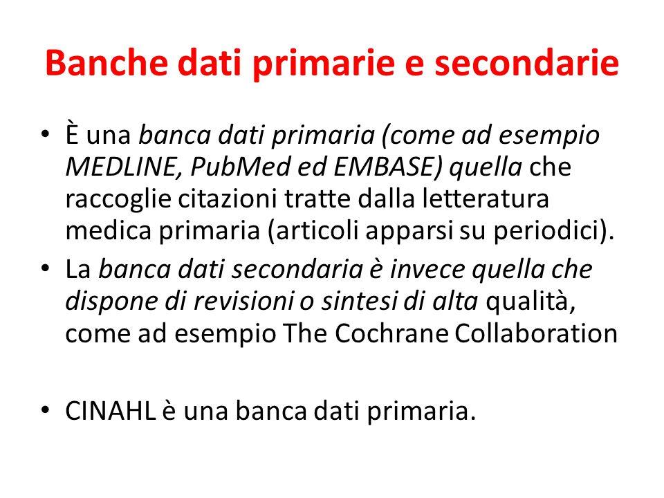 Banche dati primarie e secondarie