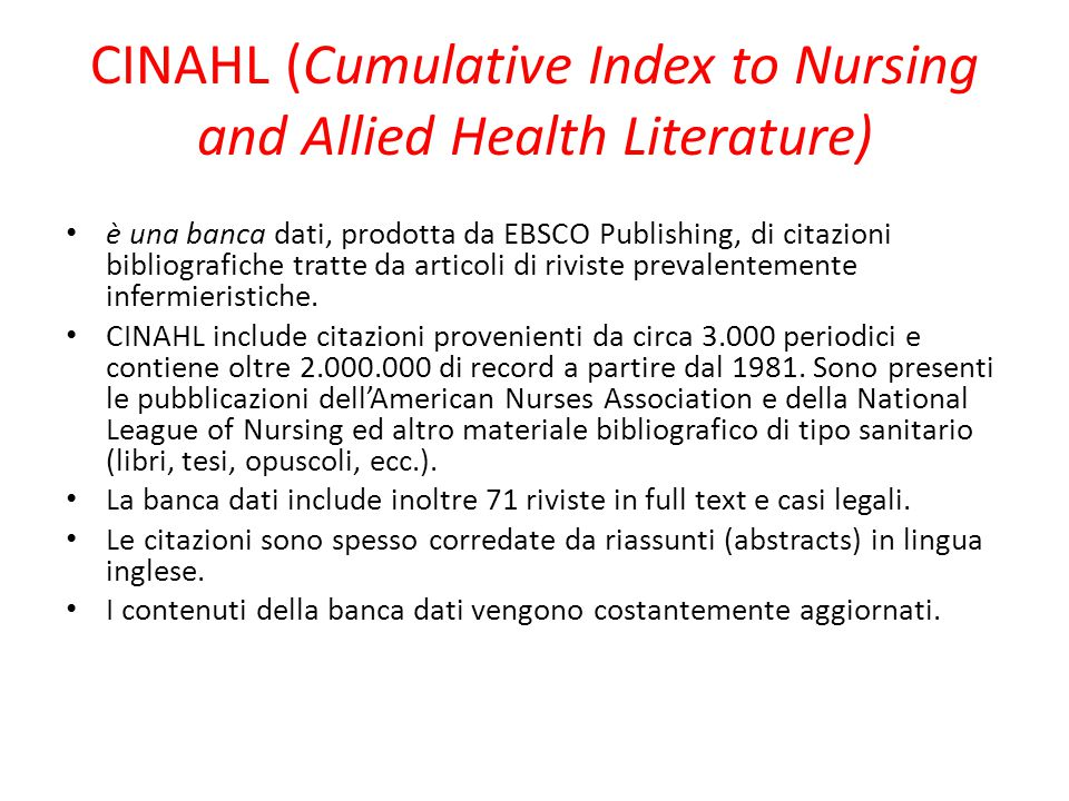 CINAHL (Cumulative Index to Nursing and Allied Health Literature)