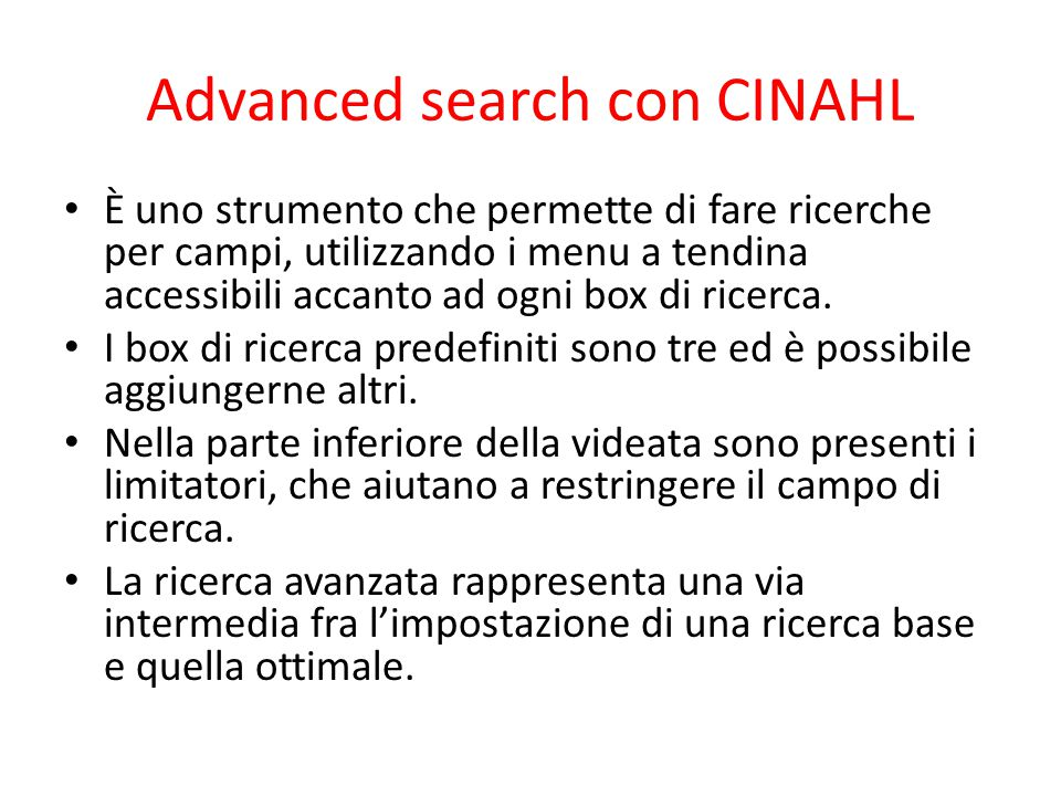 Advanced search con CINAHL