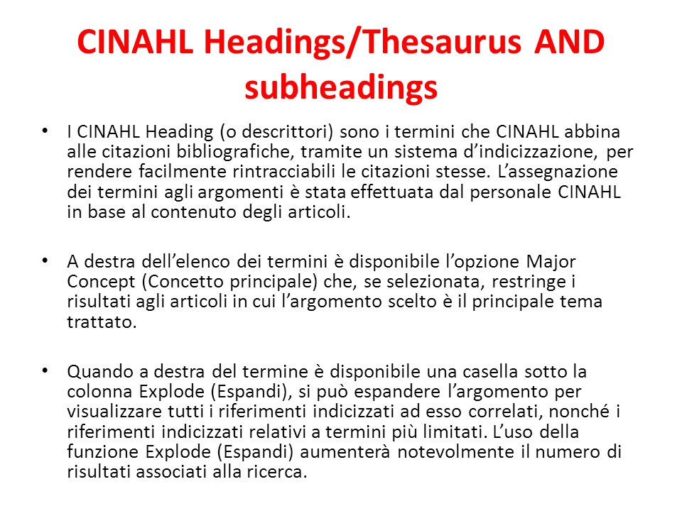 CINAHL Headings/Thesaurus AND subheadings