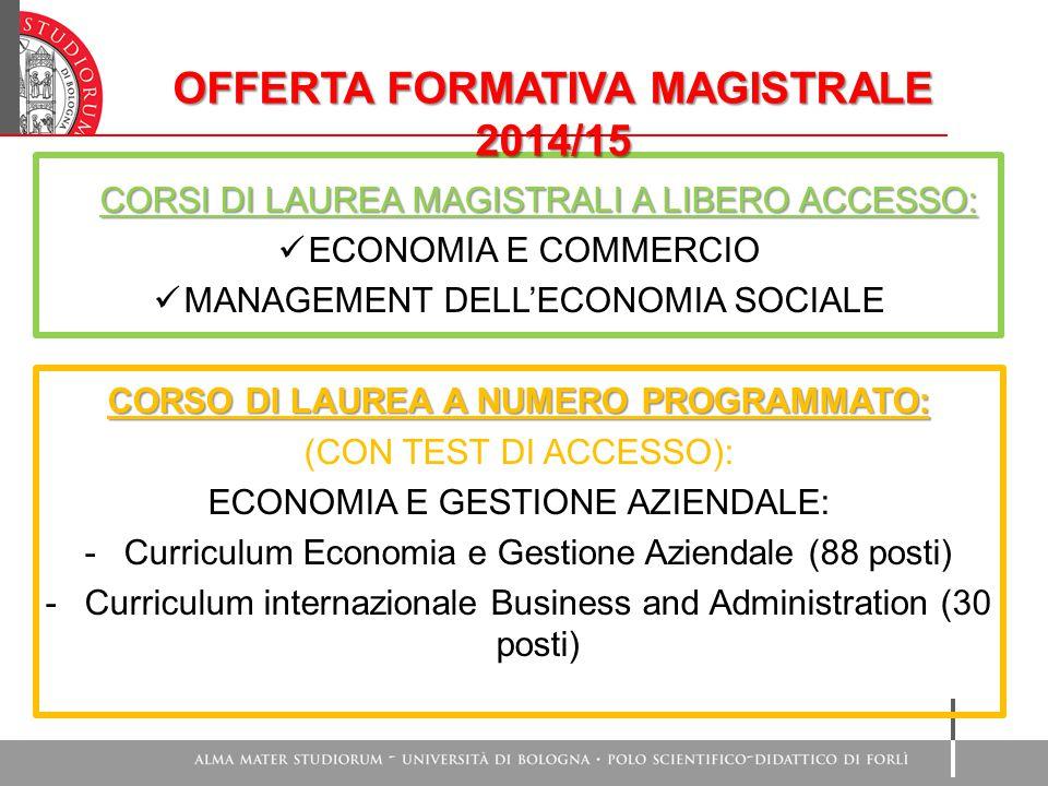 OFFERTA FORMATIVA MAGISTRALE 2014/15