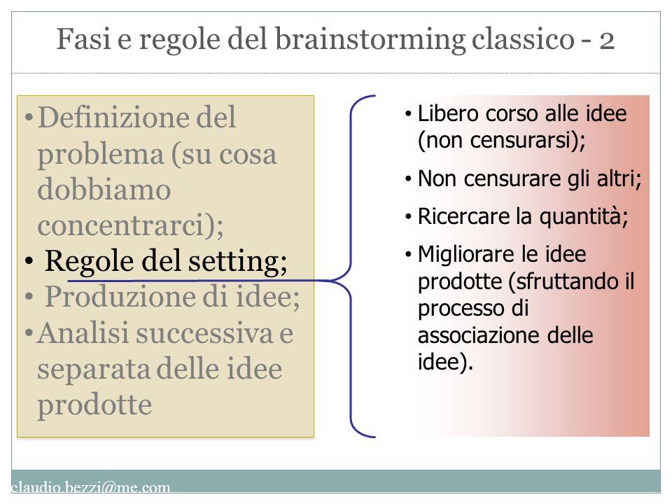 Fasi e regole del brainstorming classico - 2
