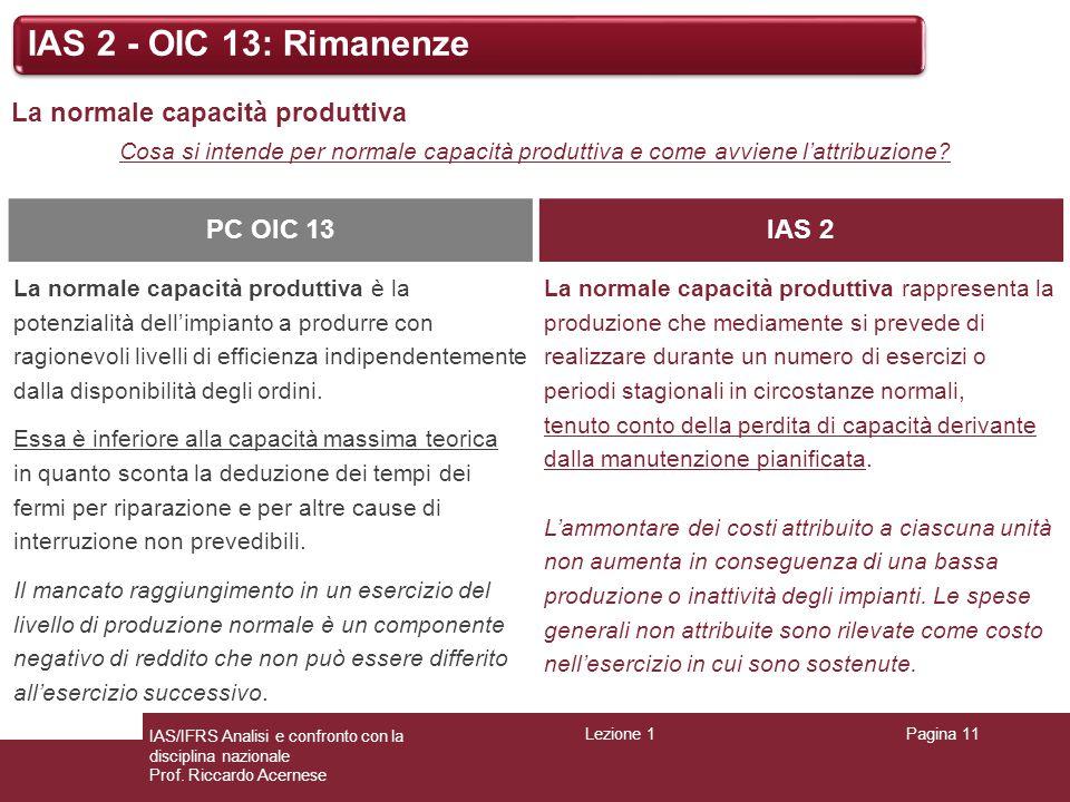 IAS 2 - OIC 13: Rimanenze La normale capacità produttiva PC OIC 13