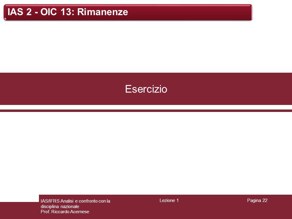 Esercizio IAS 2 - OIC 13: Rimanenze