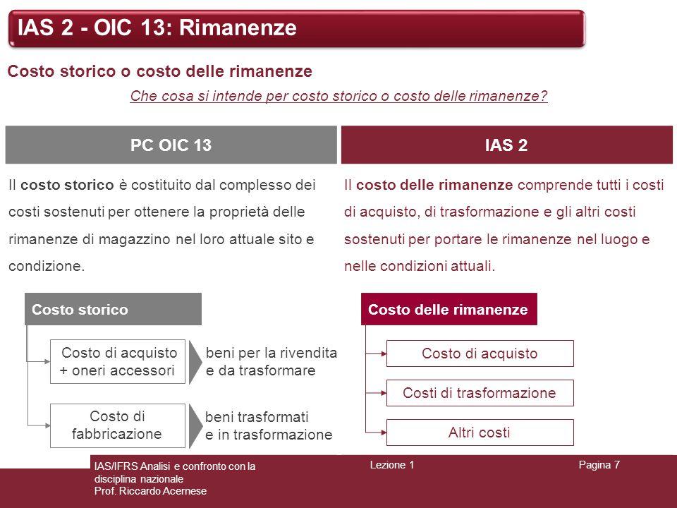 IAS 2 - OIC 13: Rimanenze Costo storico o costo delle rimanenze