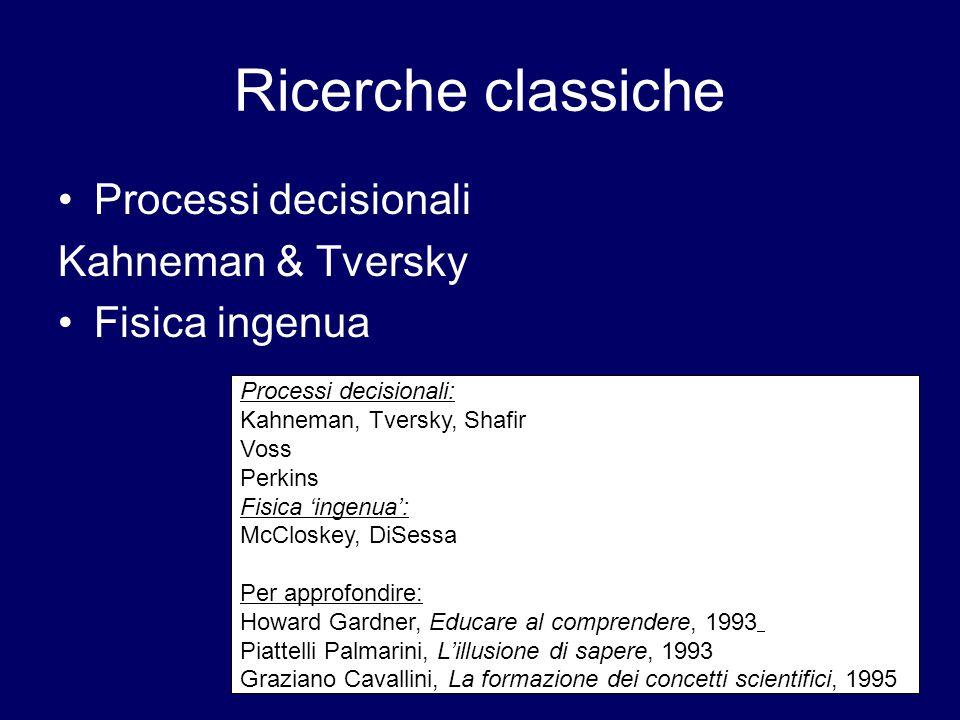 Ricerche classiche Processi decisionali Kahneman & Tversky
