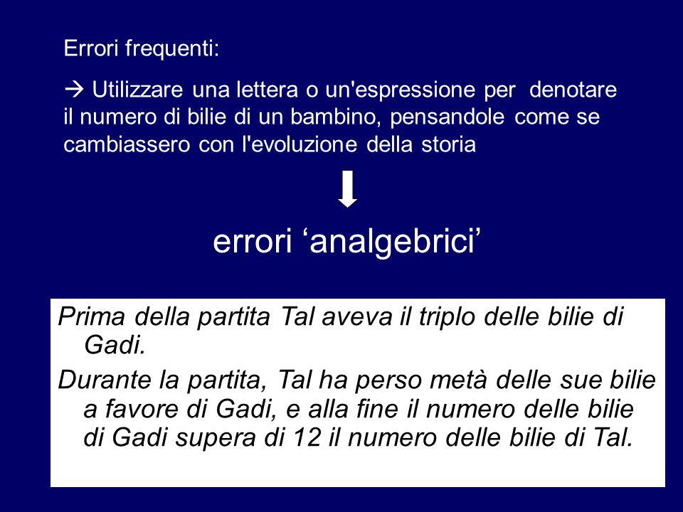 Errori frequenti: