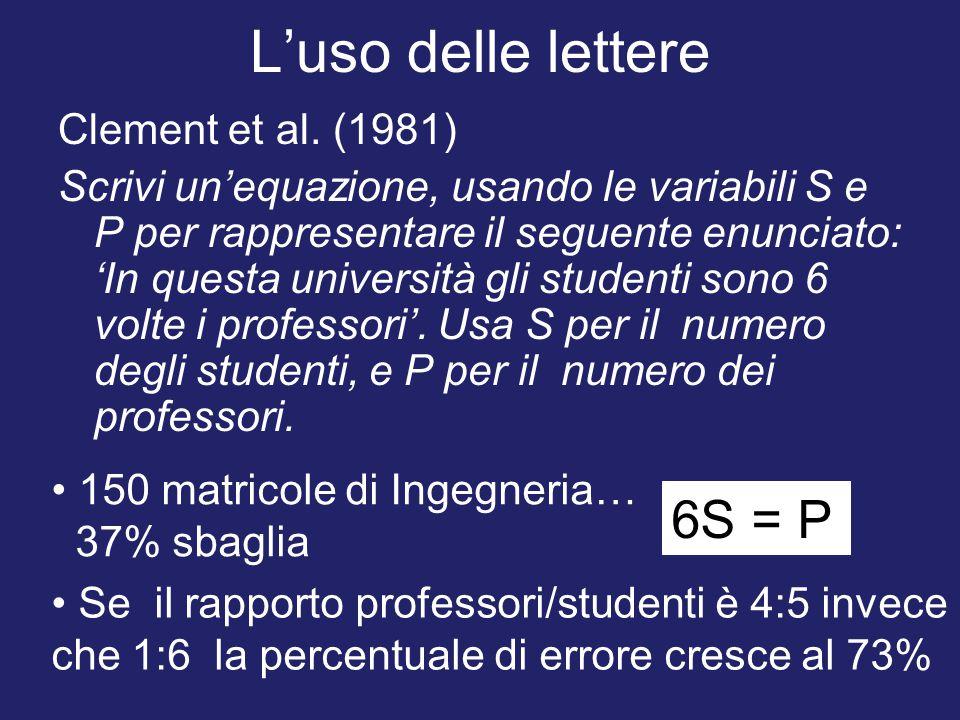 L'uso delle lettere 6S = P Clement et al. (1981)