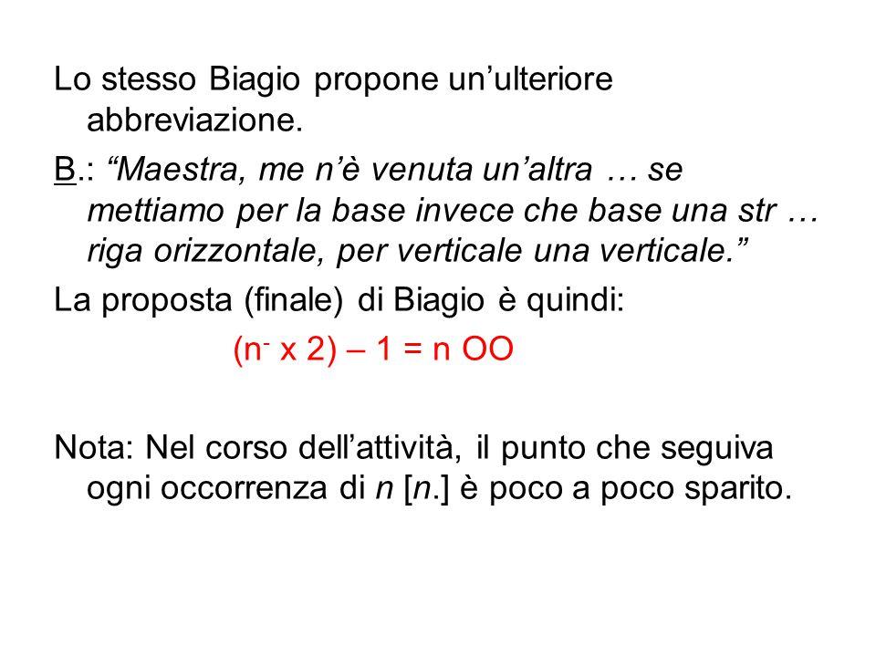 Lo stesso Biagio propone un'ulteriore abbreviazione.