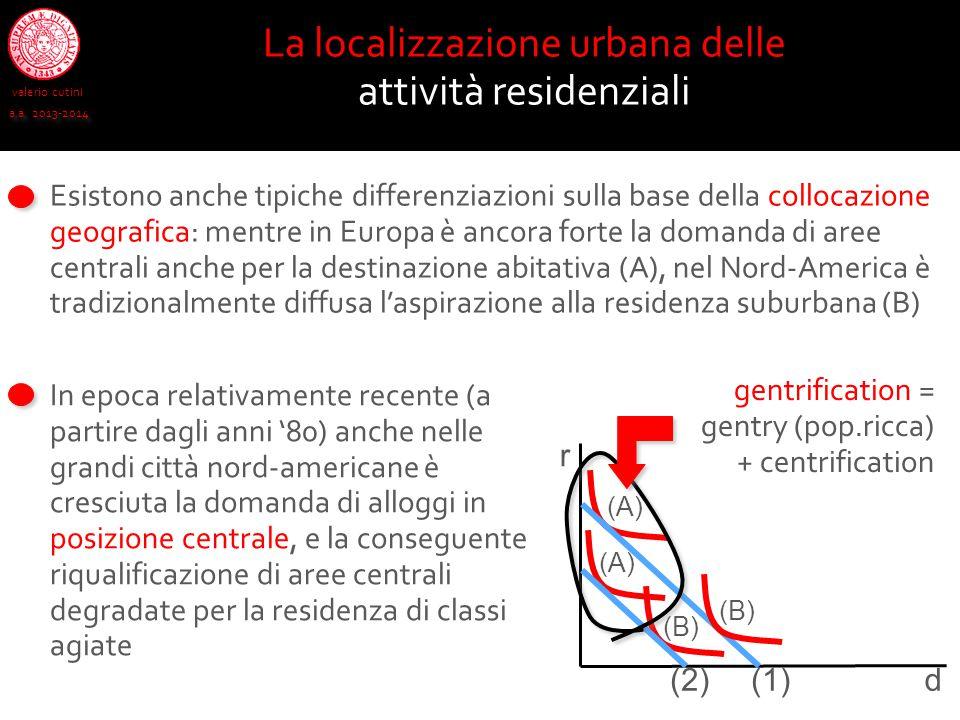 La localizzazione urbana delle attività residenziali