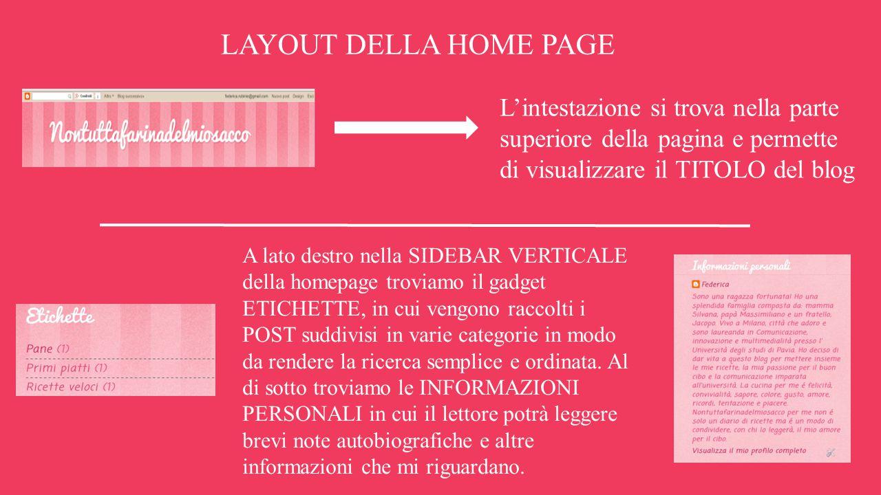 LAYOUT DELLA HOME PAGE L'intestazione si trova nella parte superiore della pagina e permette di visualizzare il TITOLO del blog.