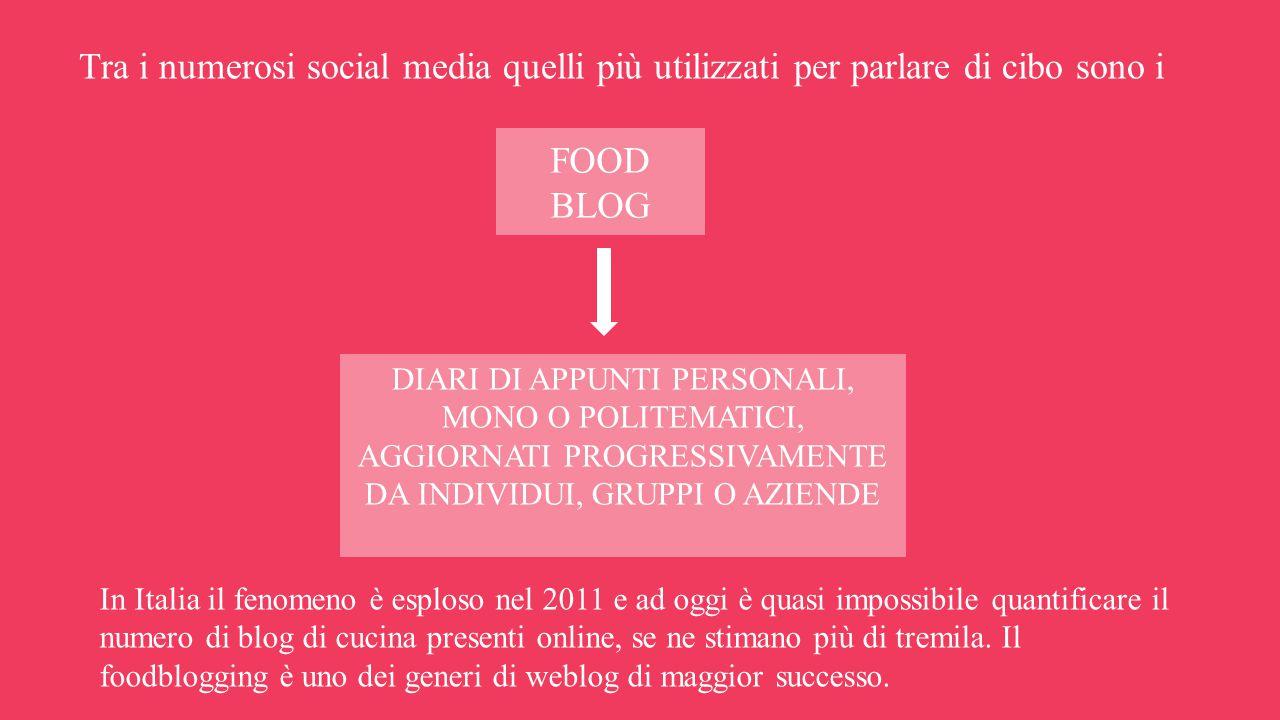Tra i numerosi social media quelli più utilizzati per parlare di cibo sono i