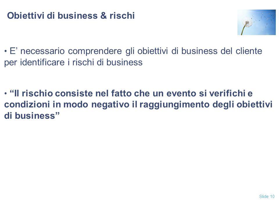 Obiettivi di business & rischi