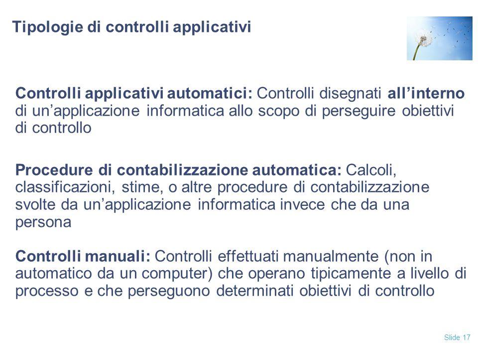 Tipologie di controlli applicativi