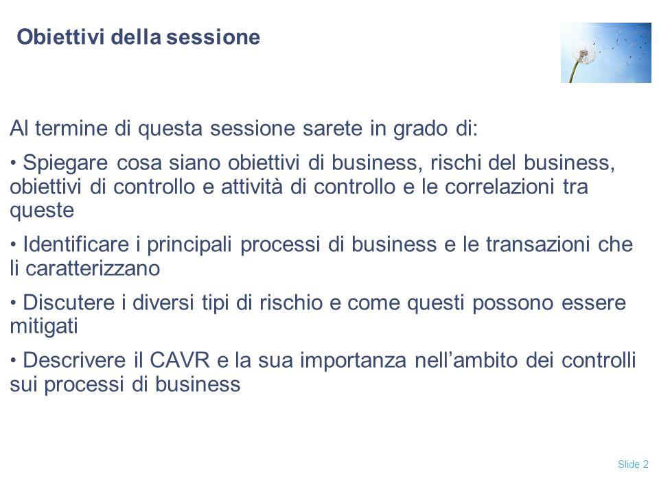 Obiettivi della sessione