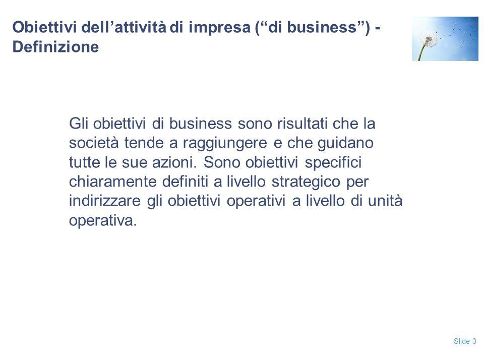 Obiettivi dell'attività di impresa ( di business ) - Definizione