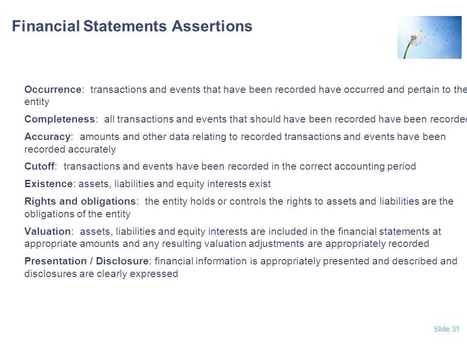 Financial Statements Assertions