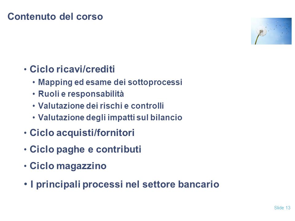 I principali processi nel settore bancario