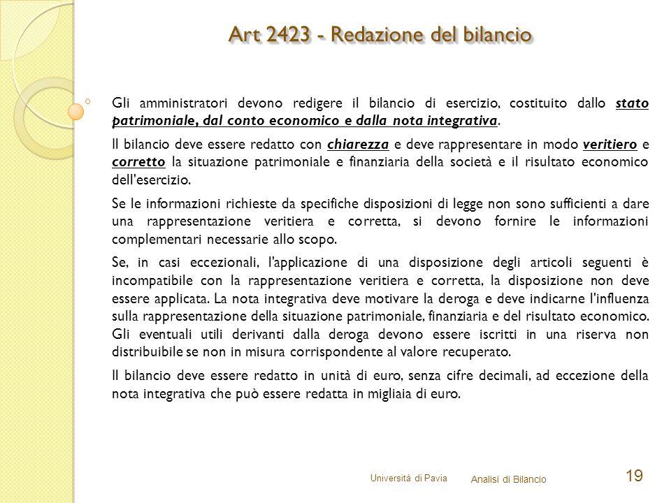 Art 2423 - Redazione del bilancio