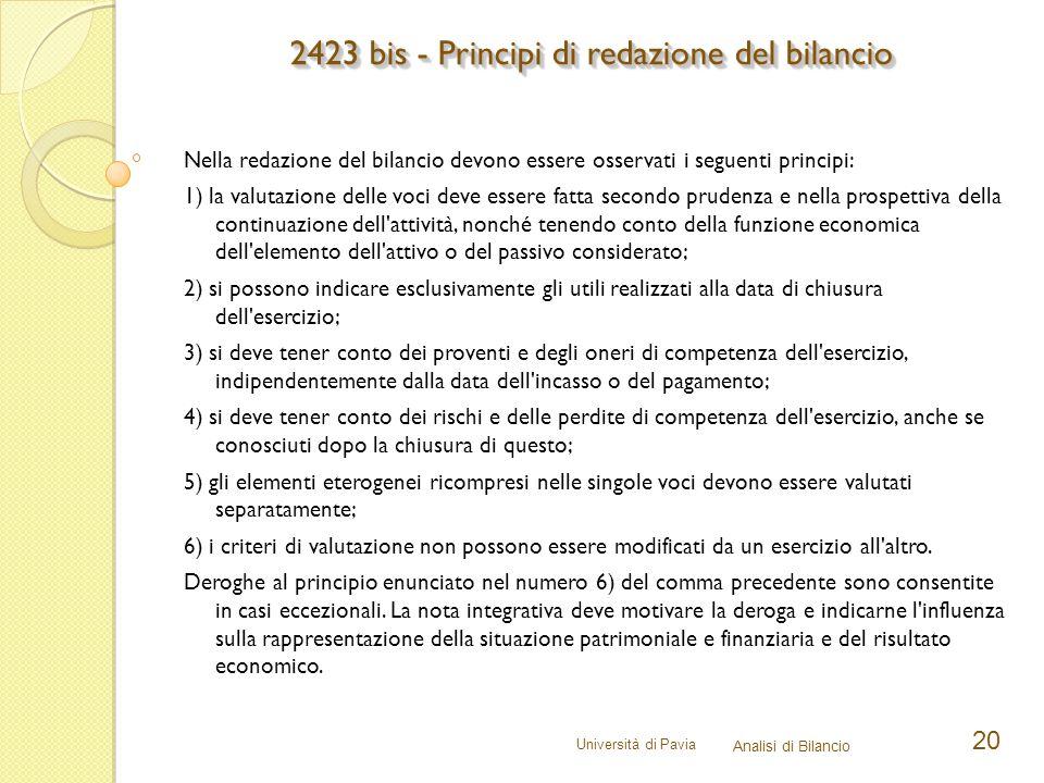 2423 bis - Principi di redazione del bilancio