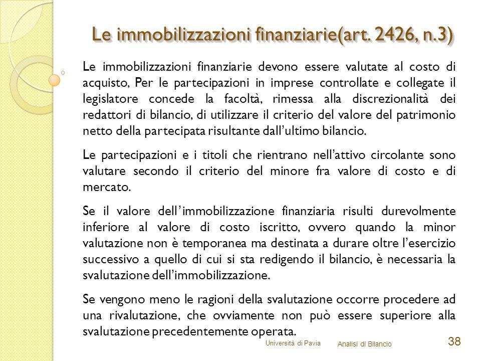 Le immobilizzazioni finanziarie(art. 2426, n.3)