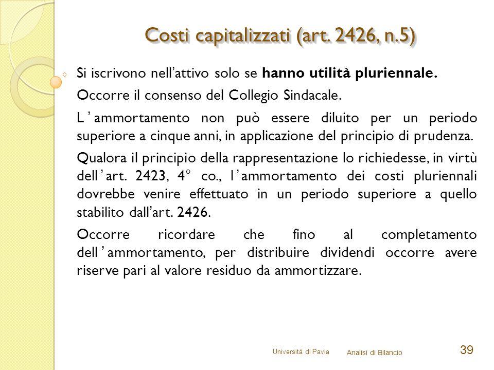 Costi capitalizzati (art. 2426, n.5)