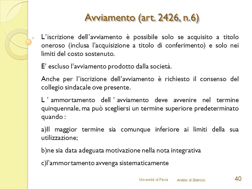 Avviamento (art. 2426, n.6)